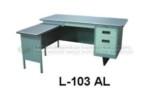 Meja Kantor Besi + Laci + Meja Samping Lion L-103 AL