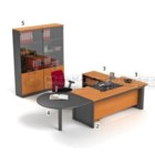 Set Meja HighPoint Dark Cherry Workstation 1